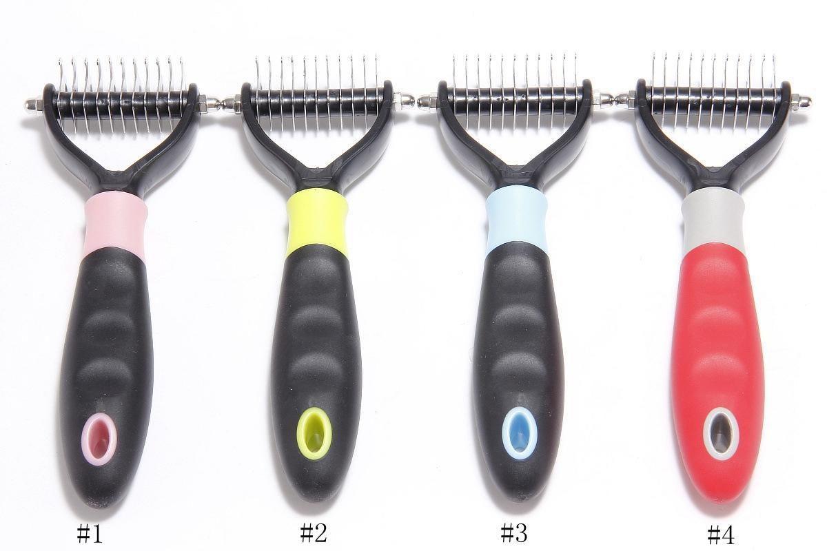 Pet Grooming pente ferramenta 2 lados undercoat ancinho para gatos cães segura dematting pet suprimentos pente removedor de cabelo EEE1060