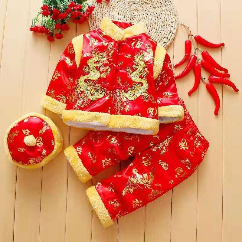 Suit Christmas Baby Ano Novo Chinês em roupa da criança infantil menino chinês Inverno Ano Novo Roupa Set