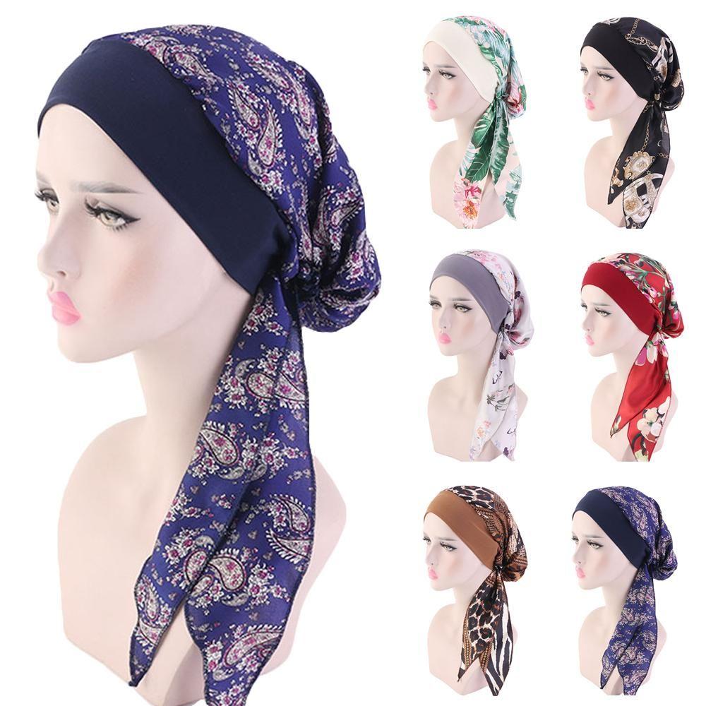Мусульманские Женщины Печатные Hijabs Шляпы Тюрбан Руководитель головной платок Химиотерапия рака Cap Потеря волос Hat длинный хвост Bow Bonnet Широкополосные Wrap Cap