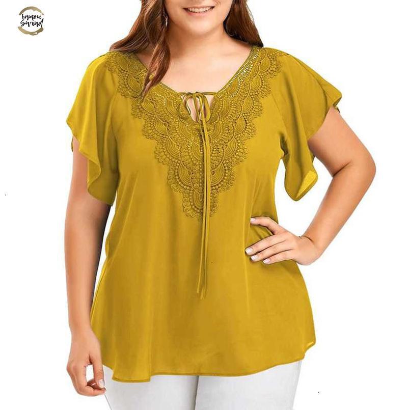 Summer Tops Women Blusas Mujer Fashion Front Lace Up Blouse V Neck Bat Short Sleeve Tunic Shirt Chemise Femme