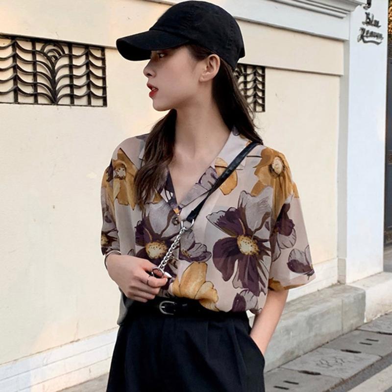 큰 꽃 인쇄 짧은 소매 블라우스 셔츠 회화 여성의 레트로 오일