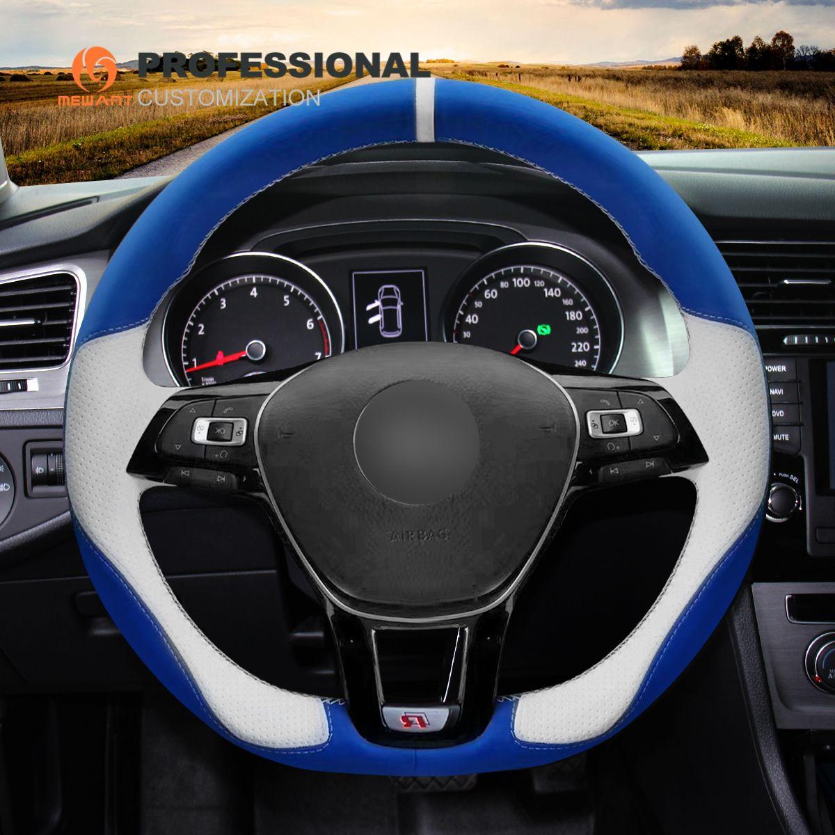 MEWANT Blue White Leather Steering Wheel Cover for Volkswagen VW Golf 7 Mk7 New Polo Jetta Passat B8 Tiguan Sharan Touran Up