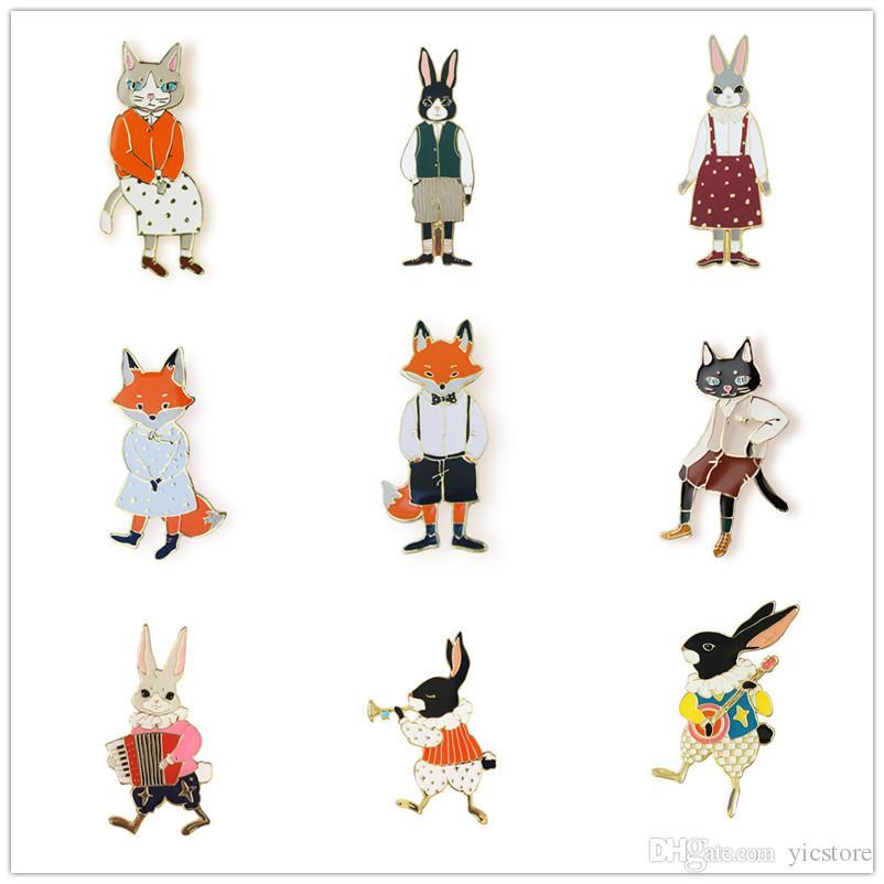 Enamel Fox Rabbit Brooch Pins Lapel Pins Badge Fashion Jewelry for Women Men Kids Christmas Gift Drop Ship