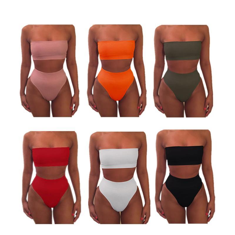 bikini atractivo del vendaje de traje de baño femenino Calzoncillos sujetador trajes de 6 colores del traje de baño de dos piezas sin respaldo simples mujeres ropa de playa Piscina