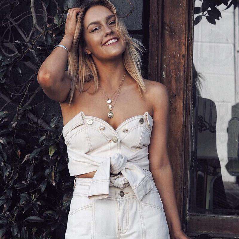 2019 Sexy T-shirt da donna scollo profondo con bottoni in chiffon T-shirt da donna manica lanterna sciolto crop top estivo benda vestiti
