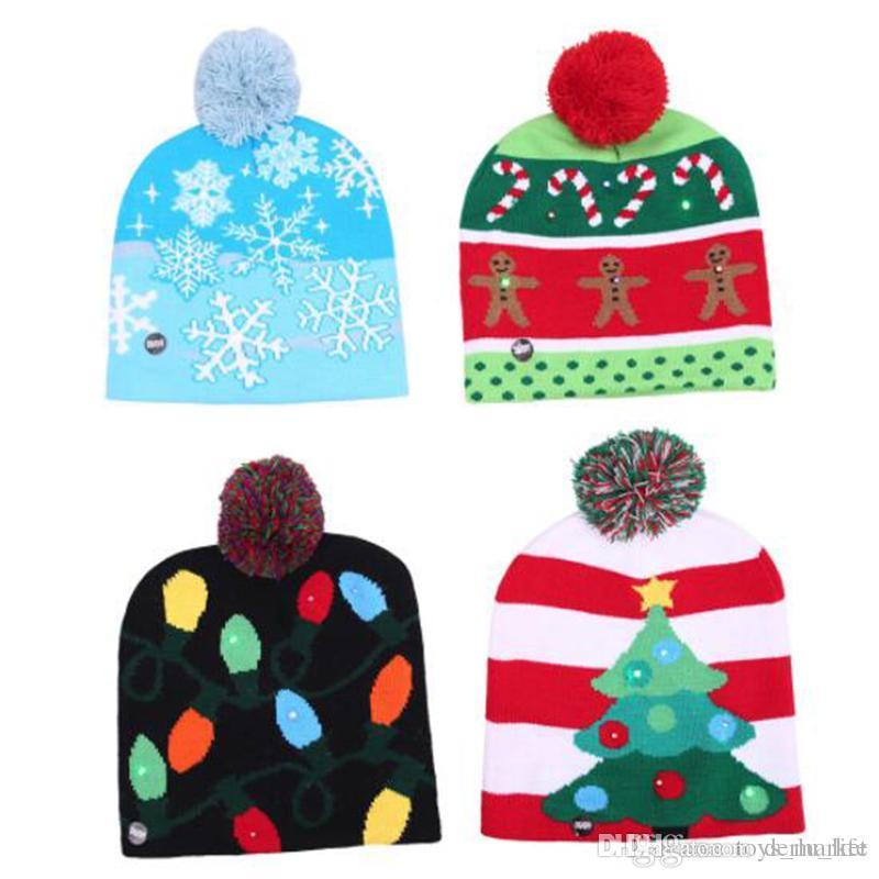 Christmas Led Lighting Hat Cap Children Adult Beanie Knitting Hats hristmas Tree Snowman Flexibility Santa Snowflake Christmas ornaments