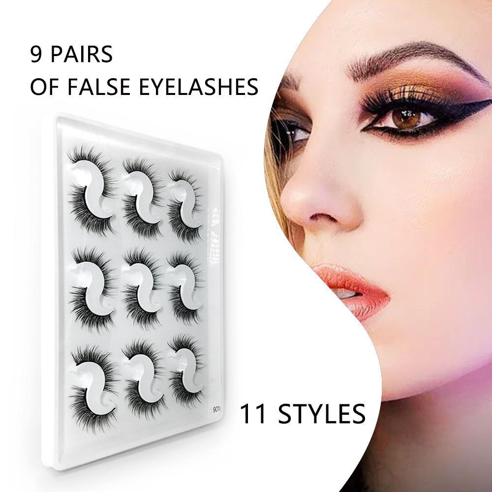 سميكة الرموش الصناعية 9 أزواج حزمة اليدوية 3D العين الطبيعية لفترة طويلة الرموش تمديد 11 الأنماط أدوات ماكياج الجمال مختلطة جلدة