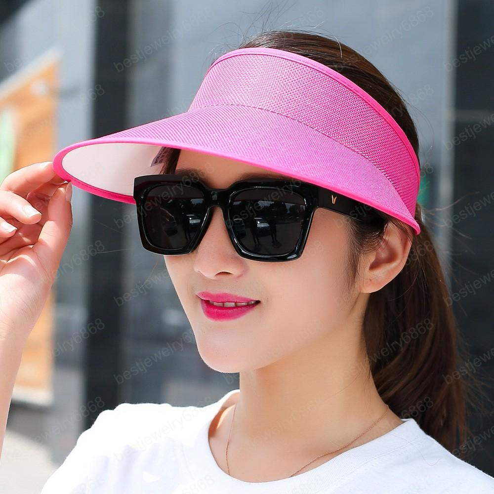Büyük Başkanları Geniş Brim UV Koruma kadın kap toptan Yeni Basit Yaz Straw Güneş Şapka Kadınlar Güneşlik Şapka