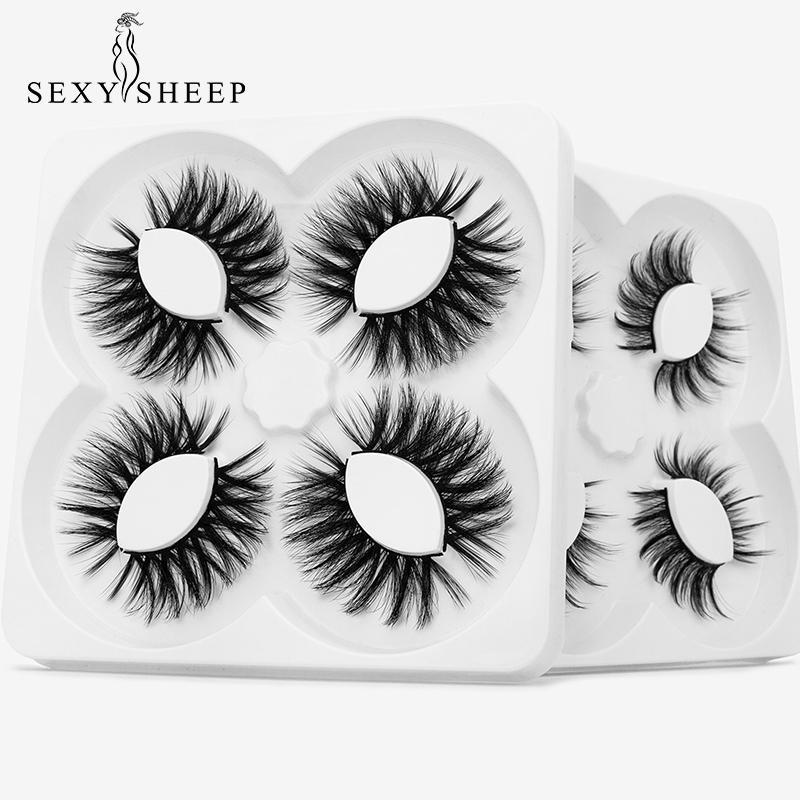 SEXYSHEEP 4 paires Faux Mink cils longueur moyenne de faux cils faux cils outils de maquillage des cils de vison d'extension Maquiagem