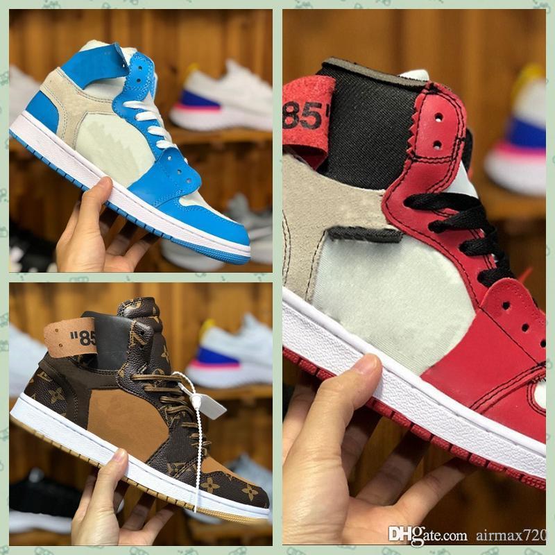 Nike Air jordan 1 x Retro offwhite AJ1 high Fsat DHL Expédition OFF black brwon 1 1s hommes chaussures de plein air trois baskets de mode limitées formateurs sport chaussure de