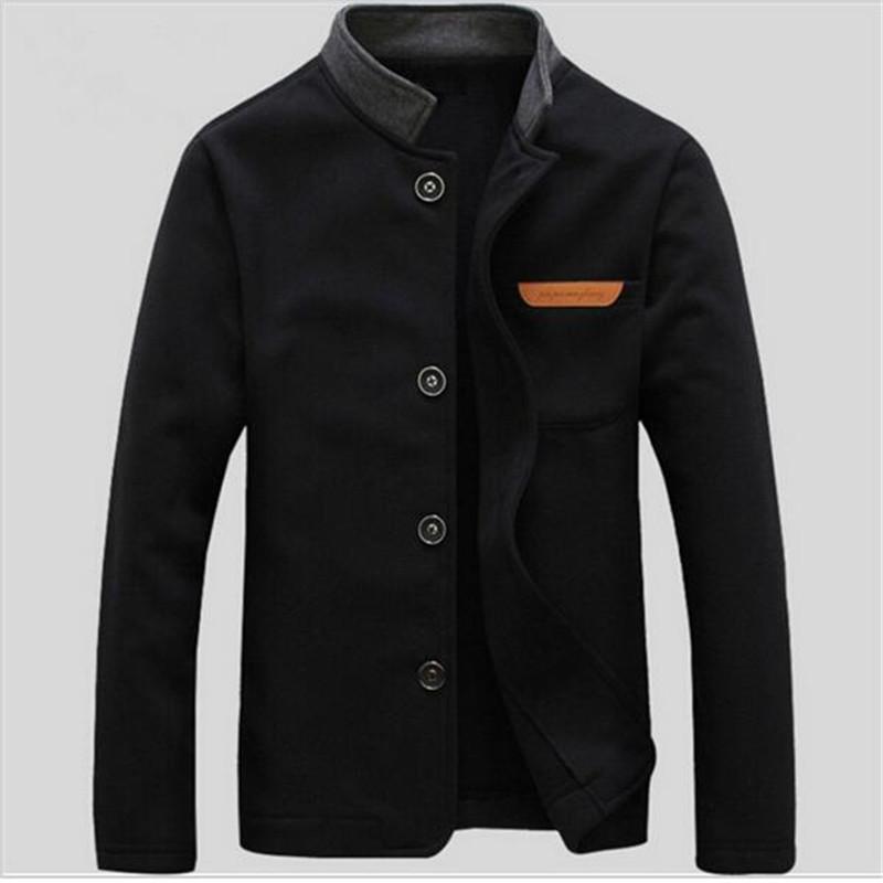 Fashion-воротник куртки 2017 Новые поступления Мода длинным рукавом Slim Fit Solid Межсезонная Casual Male свитер пальто