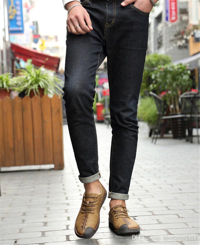 Высокое качество с Box весной новые мужские ботинки летние дышащие случайные мужская обувь с низким верхом прилив обуви черный желтый коричневый