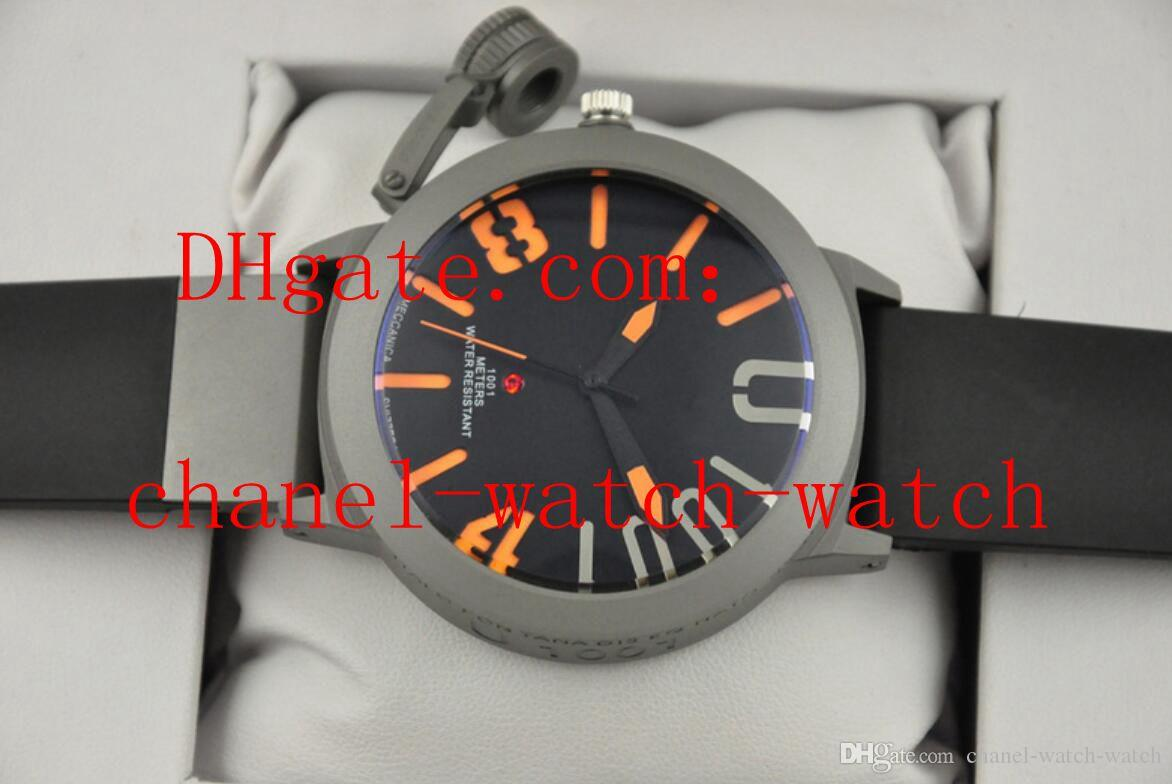 De alta calidad Classico 55 U-1001 Acero inoxidable Azul Negro Dial Negro Caucho Reloj deportivo automático para hombre Relojes de pulsera para hombres Espalda transparente