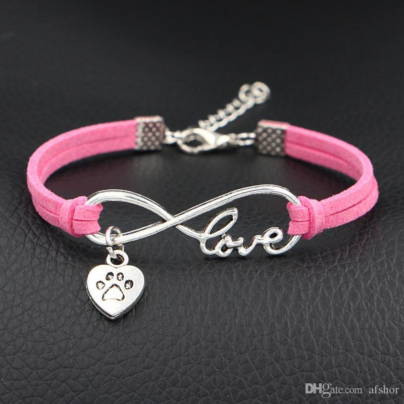 Antique silver Plated Infinity Love Pets Dog Paw Heart Charm Bracelets Bangles Women Men Hot Pink Leather Gift Adjustable Expandable Jewelry