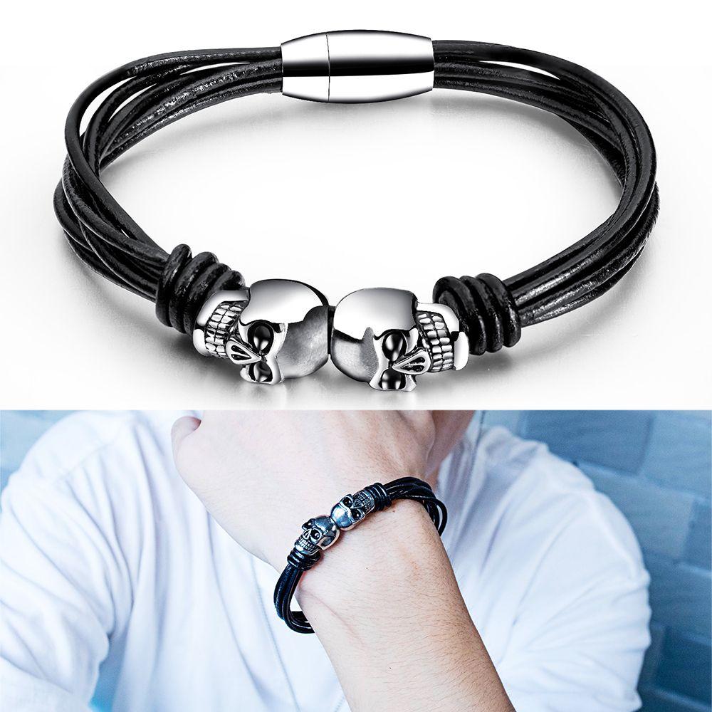 Men Skull Shape Stainless Steel Cuff Bracelets Multi-layer PU Leather Wristband Bangle Bracelet Fashion Jewelry Birthday Gift for Husband
