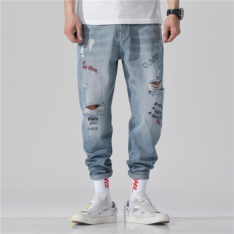 Ink G Cattle Moda uomo in 2019 Jeans strappati Jeans Fitness Wear Jeans Stile moda uomo di alta qualità