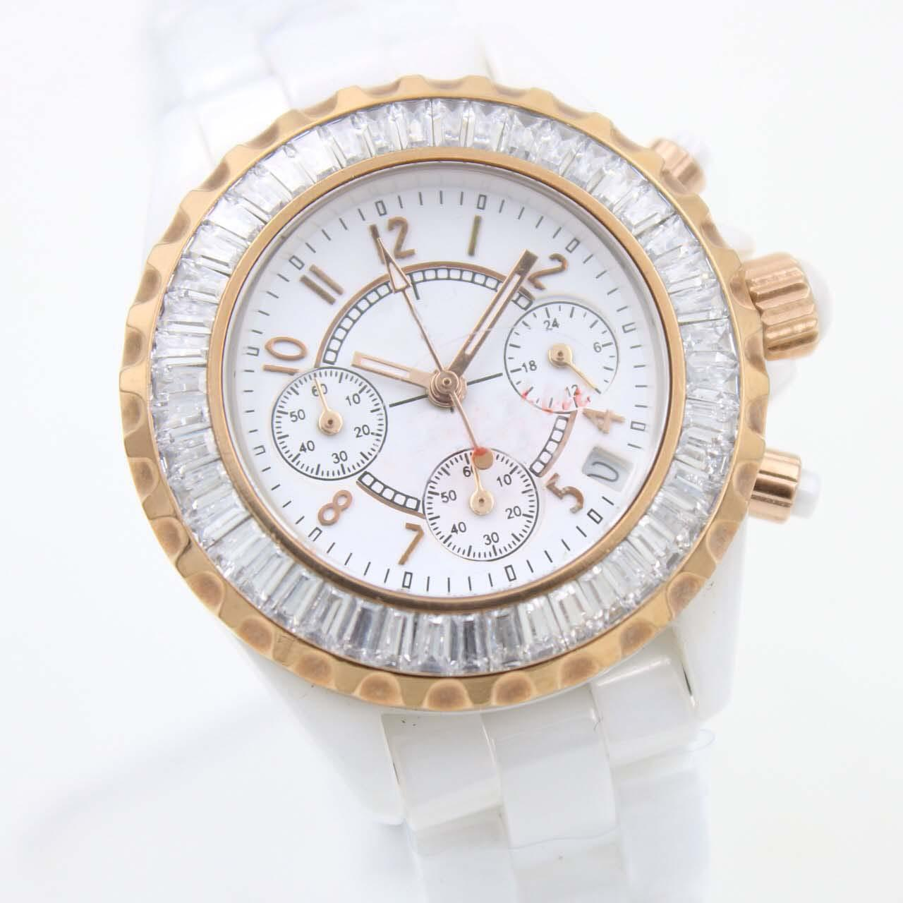 Wholesale - NEW LUXURY 34mm watches quality quartz chronograph movement DIAMOND DIAL movement ceramic watch WHITE bezel fashion ladies watch