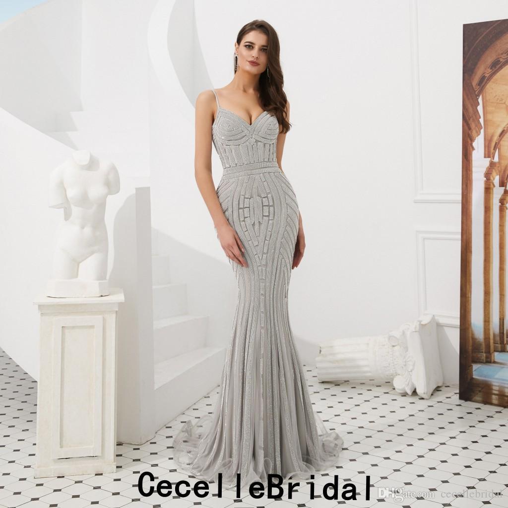Großhandel Silber Pailletten Lange Meerjungfrau Luxus Abendkleider 12 Mit  Spaghettiträgern Schatz Kurzen Zug Frauen Elegante Party Kleider Von