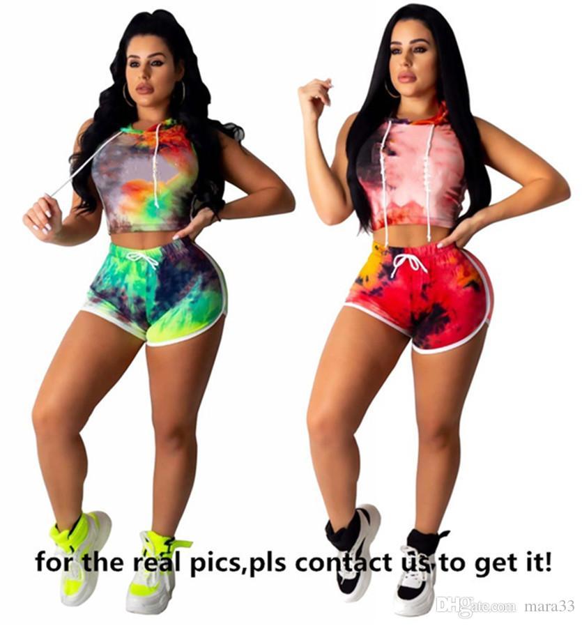 takım elbise 2820 koşu Artı boyutu 3X Yaz Kadınlar marka iki parçalı set renkli giysileri yelek kırpma üst + şort rahat spor mektup Sweatsuits