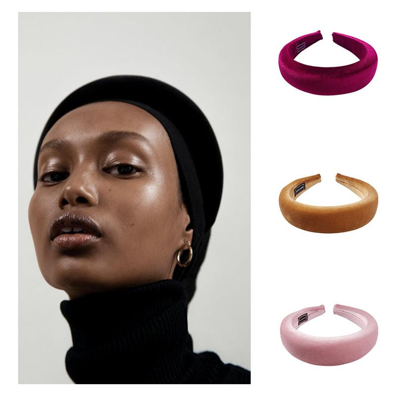 Горячие женщины толстых губок волос обруч F07091 золота бархат дизайнер оголовье многоцветной обруч волос аксессуары для волос BRW согласующих мод аксессуаров