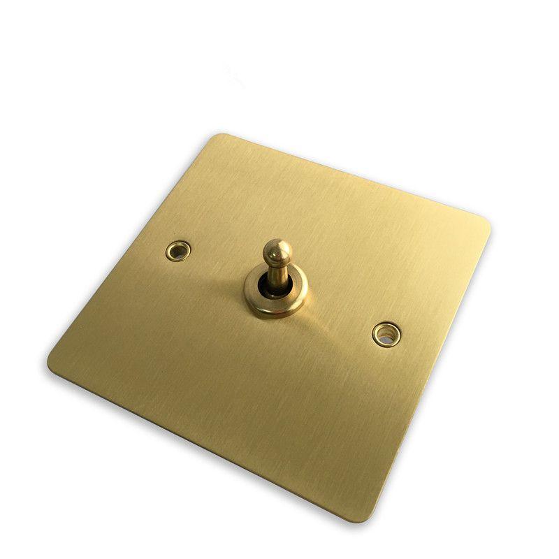 Interruptor da parede da cor do ouro 10A e interruptor de luz do painel do cobre de 1 maneira do grupo 2