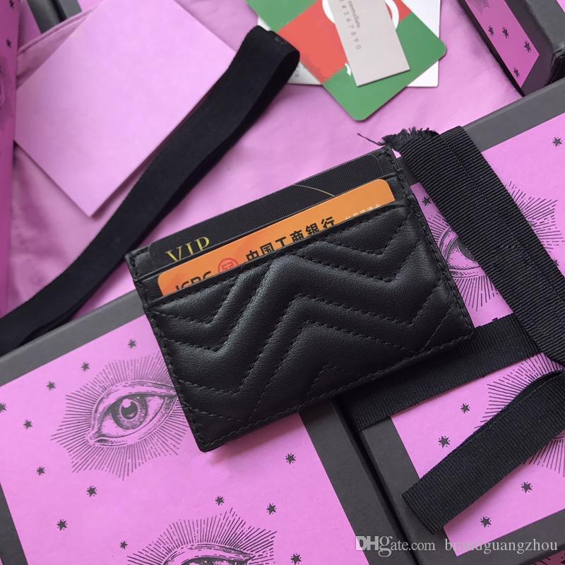 Porte-cartes Dsigner pour les hommes et les femmes courtes hommes en cuir véritable sac d'embrayage portefeuille portefeuille de détenteurs de cartes d'affaires avec la boîte