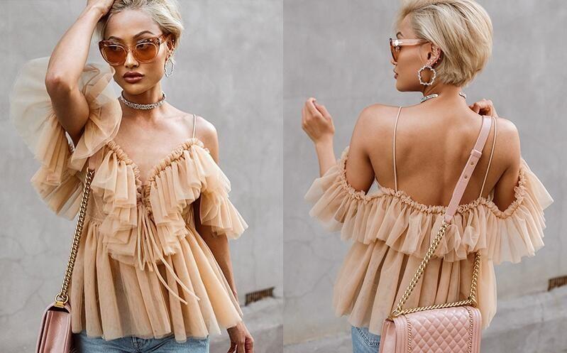 Pleated ruffle vintage peplum blouse top Women off shoulder mesh blouse shirt summer 2018 Sexy sleeveless shirt blusas