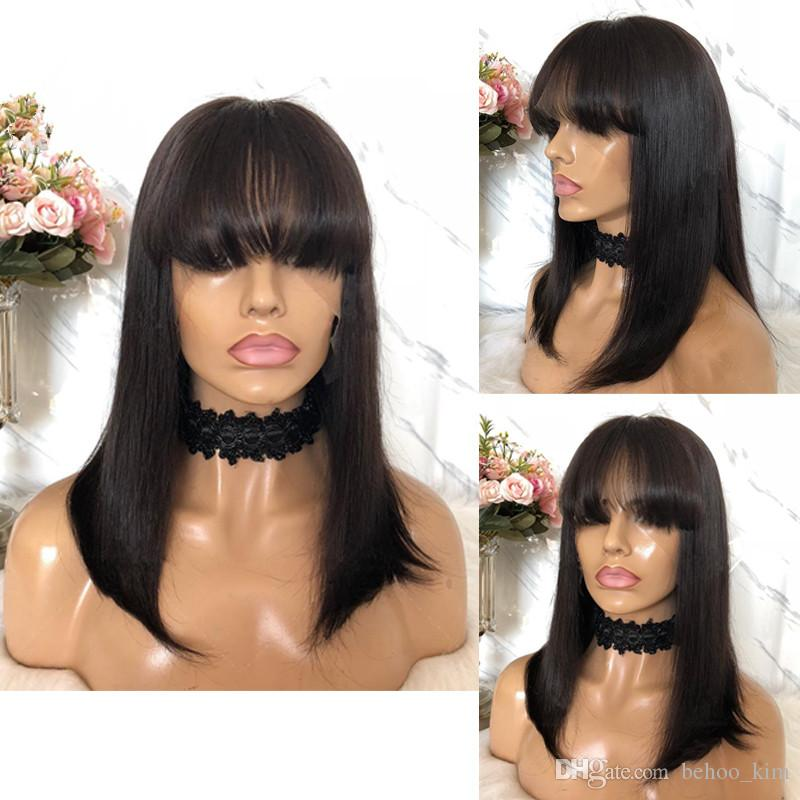 Unprocessed virgin remy smooth human hair bangs medium bob natural color natural straight full front lace wig most popular for women