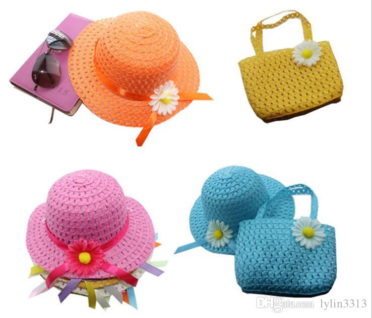 Doux bébé fille Sunhat chapeau de paille Bonnet + sac de paille fourre-tout sac ensemble enfant été fête fête