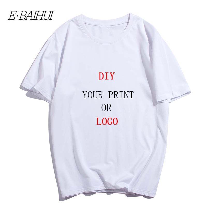 E-Baihui Benutzerdruck-T-Shirt aus 100% Baumwolle Design Männern reines Farbe-Rundhalsausschnitt-kurzärmliges Logo Freies DIY gedrucktes T-Shirt T-0092