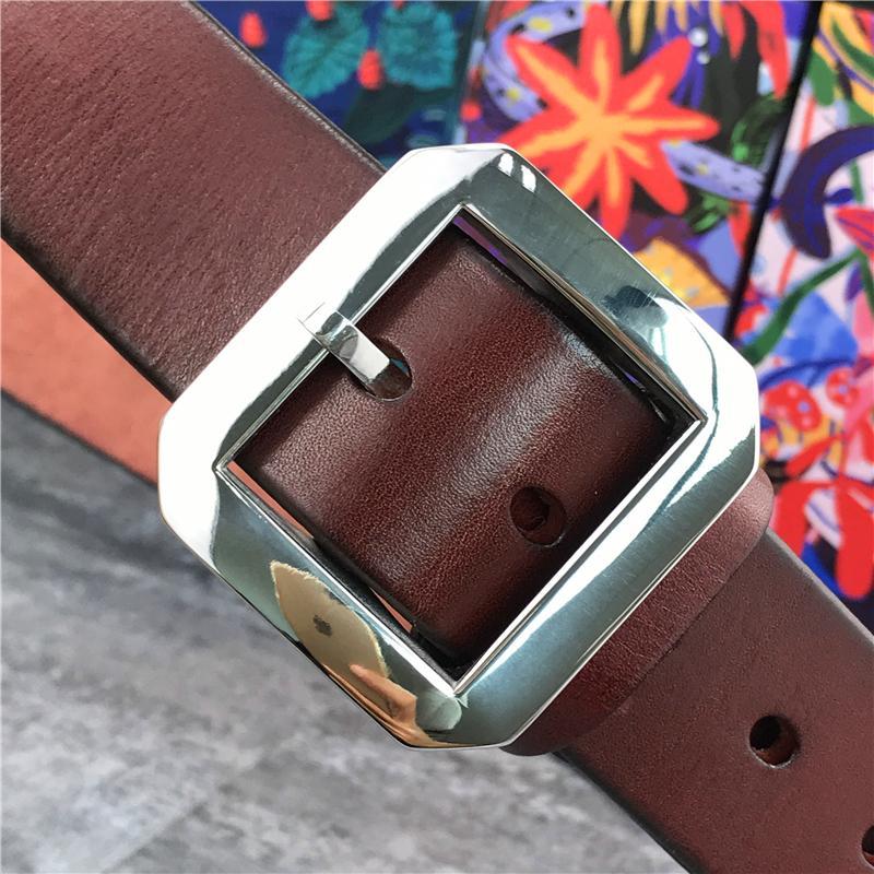 Edelstahl-Wölbung Qualitäts-super dicke echte Ceinture Männer Leder breite Hüftgurt SBT0004 T200511