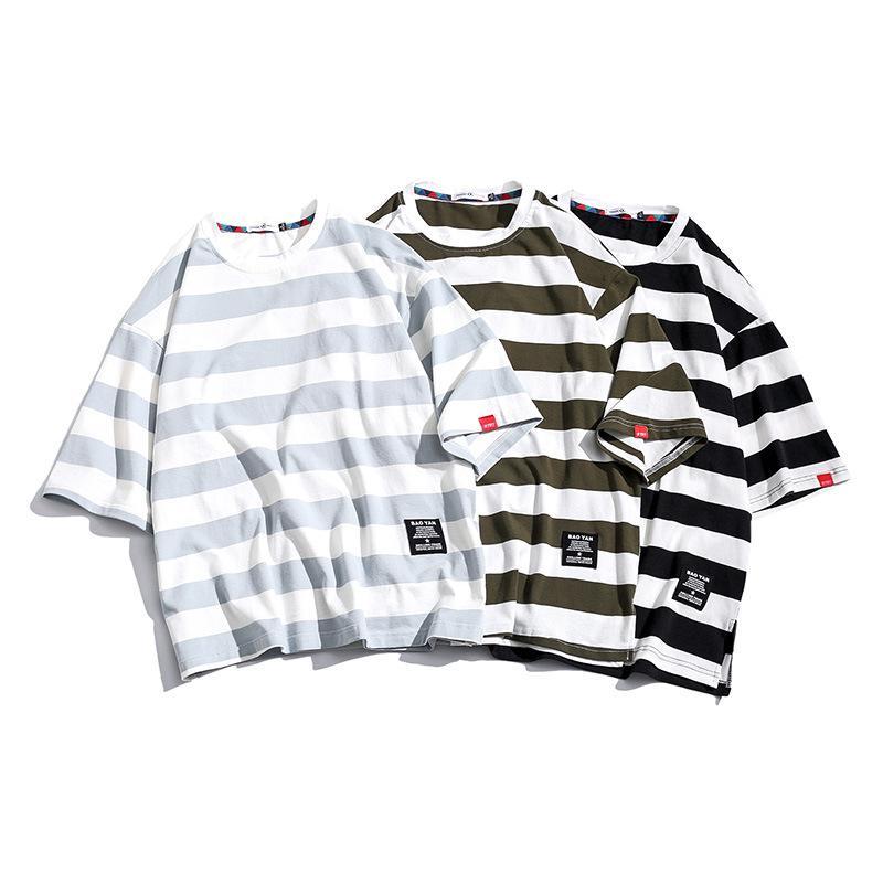 블랙 패션 T 셔츠 남성 코튼 티셔츠 스트라이프 남성용 티 여름 일본어 캐주얼 T 셔츠 스트리트 피트니스 티 대형