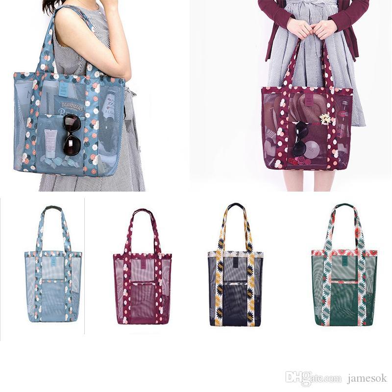 Мода Пляжные сумки женщины девушки Травинг торговый сетки цветочные сумки на ремне хранения сумки кошелек сумки продуктовый организатор DC124