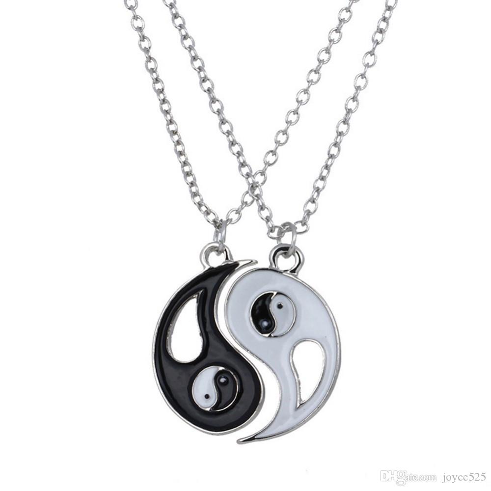 New amizade para sempre Homens Trendy Ying Yang presente melhor amigo Mulheres Unisex casais jóias de prata Bagua Tai Chi BFF Colar Pingente