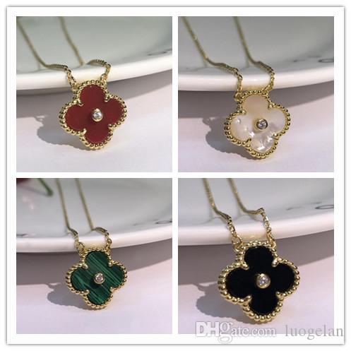 2019 Collier de bijoux de mode noir et blanc rouge vert à quatre feuilles Fleur Agate Argent 925 Collier de diamants trèfle boucle
