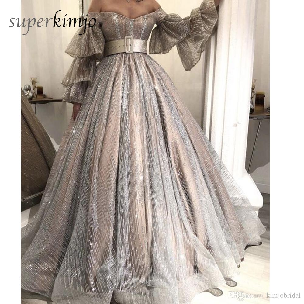 Bling Bling Prom Dresses Off the Shoulder Paillettes Sparkly Poet Abito da sera manica lunga