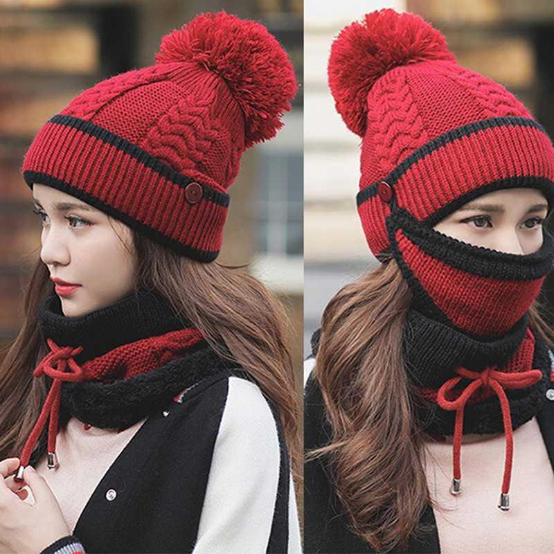 das mulheres bonés de malha Aqueça o lenço Windproof Multi funcional Hat Scarf Set de Moda de Nova Outono Inverno Roupas e Acessórios Suit