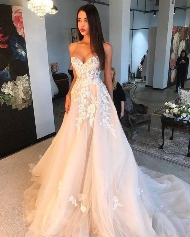 Elegant Women's Long Lace Pink Sweetheart Wedding Dresses Tulle Sweep Train A-Line Bridal Gown Corset Wedding Gowns