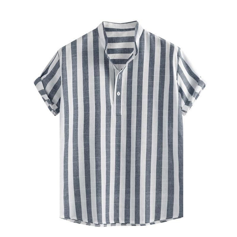 Мужские рубашки в полоску хлопок белье Stand Collar Сыпучие с коротким рукавом Пуговицы Гавайский пляж Shirt Mens отдыха Одежда для отдыха
