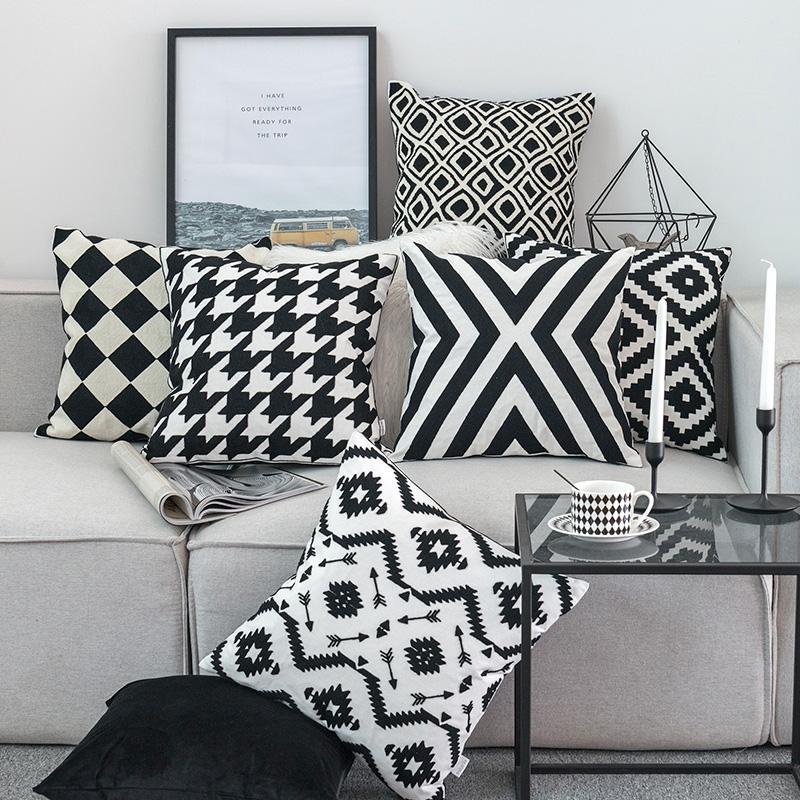 소파 베드 의자 홈 장식 자수 쿠션 커버 블랙 화이트 캔버스 코튼 광장 자수 베개 커버 45x45cm