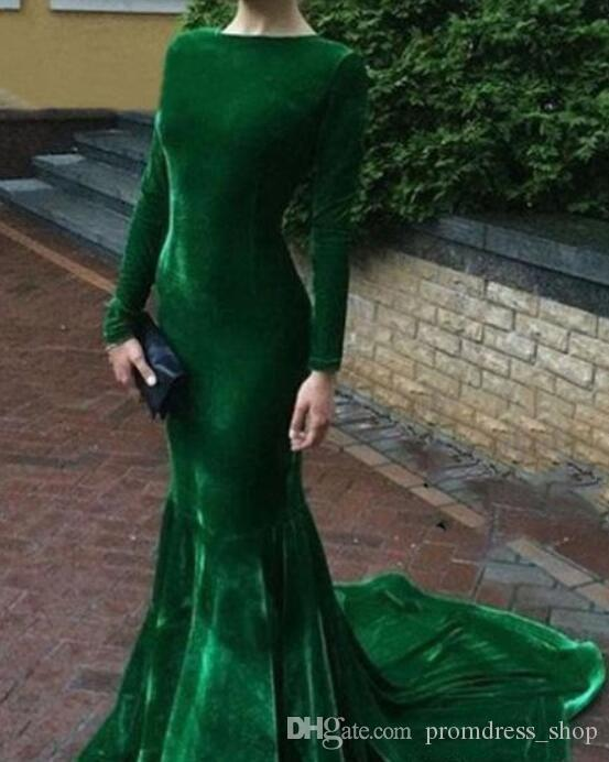 2020 Cheap Hunter Green Velvet Evening Dress Arabic Long Sleeves Formal Holiday Wear Prom Party Gown Custom Made Plus Size