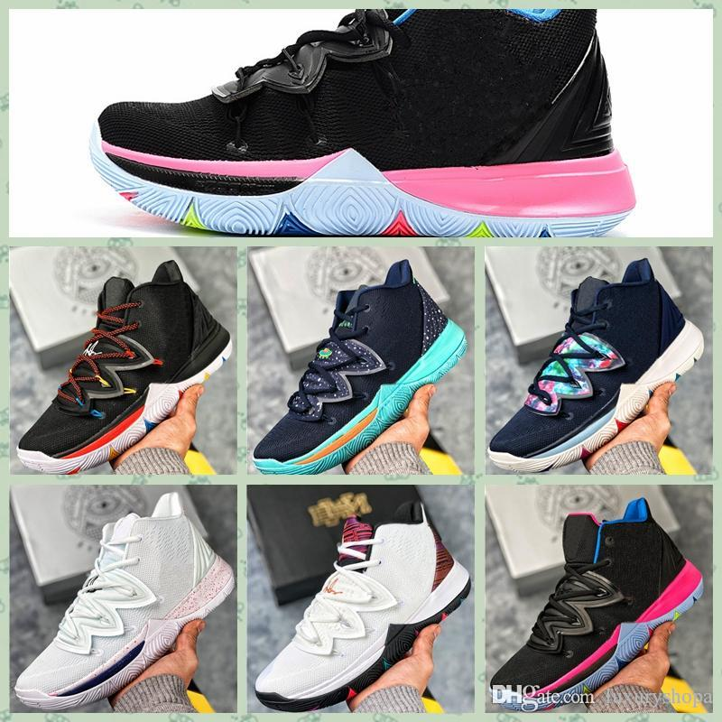 NKY05A Kyrie Five 5 Zoom Black Magic Sky Star Mens outdoor Shoes 5S Men Rainbow Black White Light Weight Breathable Sports Sneakers 40-46