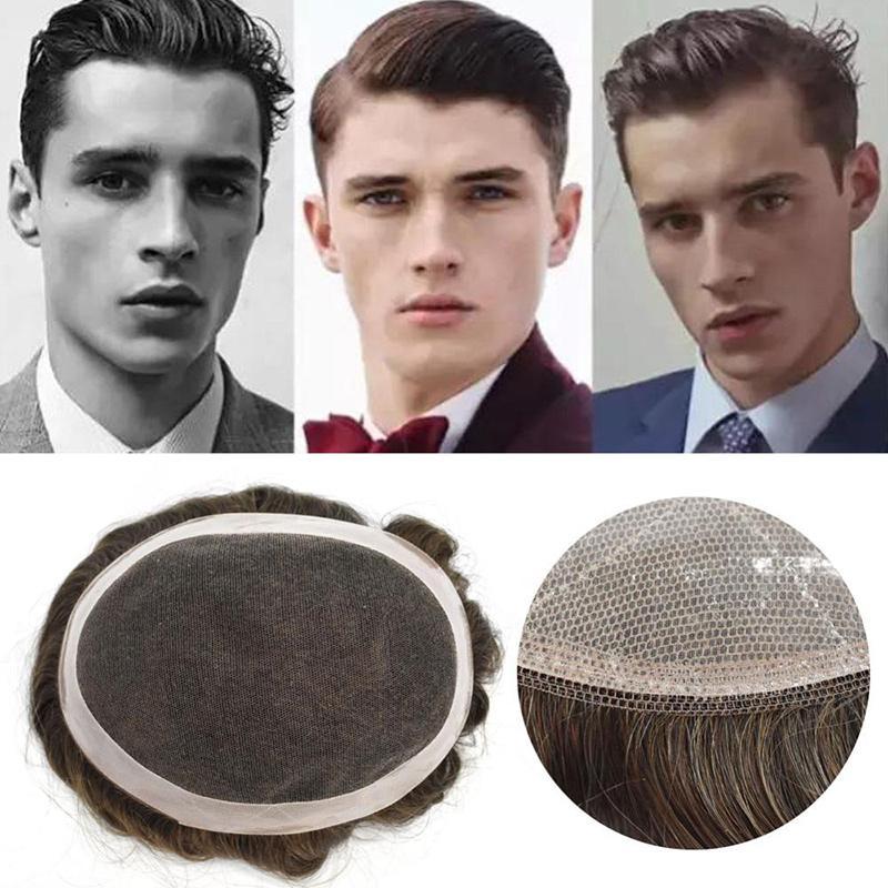 Uomini piena del merletto Toupee Cina TKWIG Hair Company parrucca per Maschi Durable sostituzione parrucchino capelli umani di Remy per bmen
