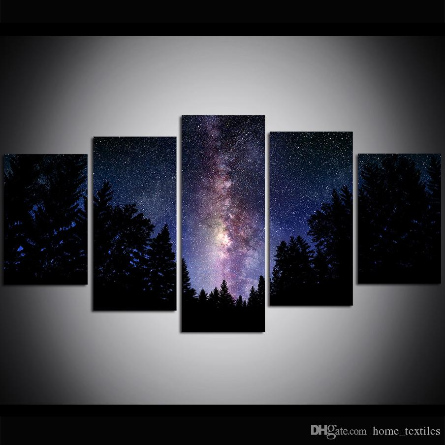 5 Piece Large Size Canvas Wall Art The Milky Way Print Oil Painting Wall Art Pictures for Living Room Paintings Wall Decor