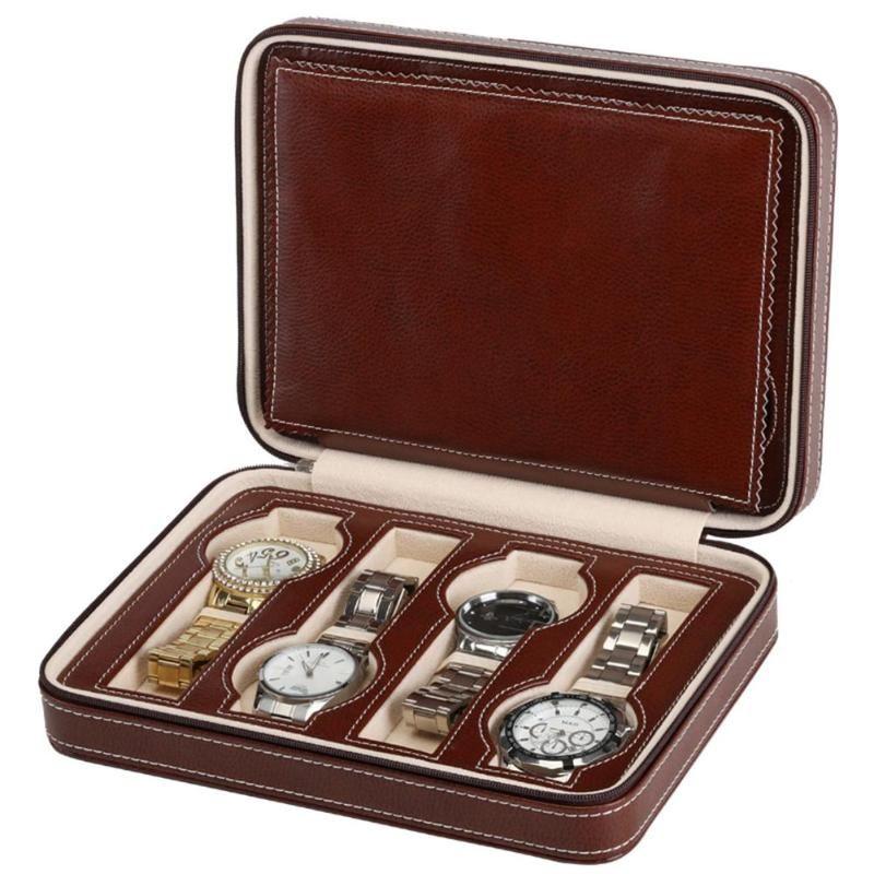 8 Grids PU Cuero Reloj Box Storage Mostrando Relojes Mostrar Caja de almacenamiento Caja de caja Tray Zippere Joyería de viaje Reloj Caja de coleccionista