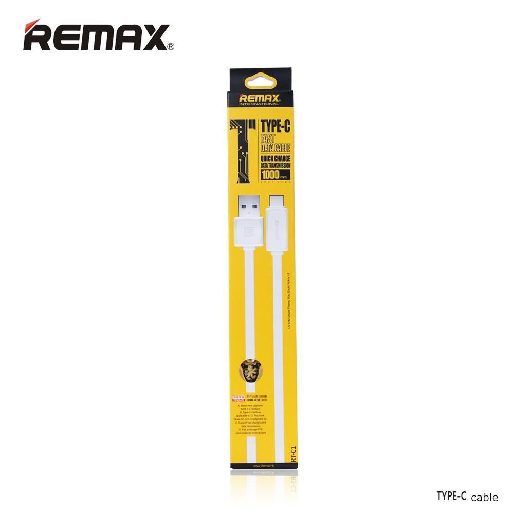 Original Remax TYPE-C USB Data Cable USB 3.1 Output 2.1A Charging & Data Transfer 1 Meter Flexible Black & Whtie Color 30pcs up