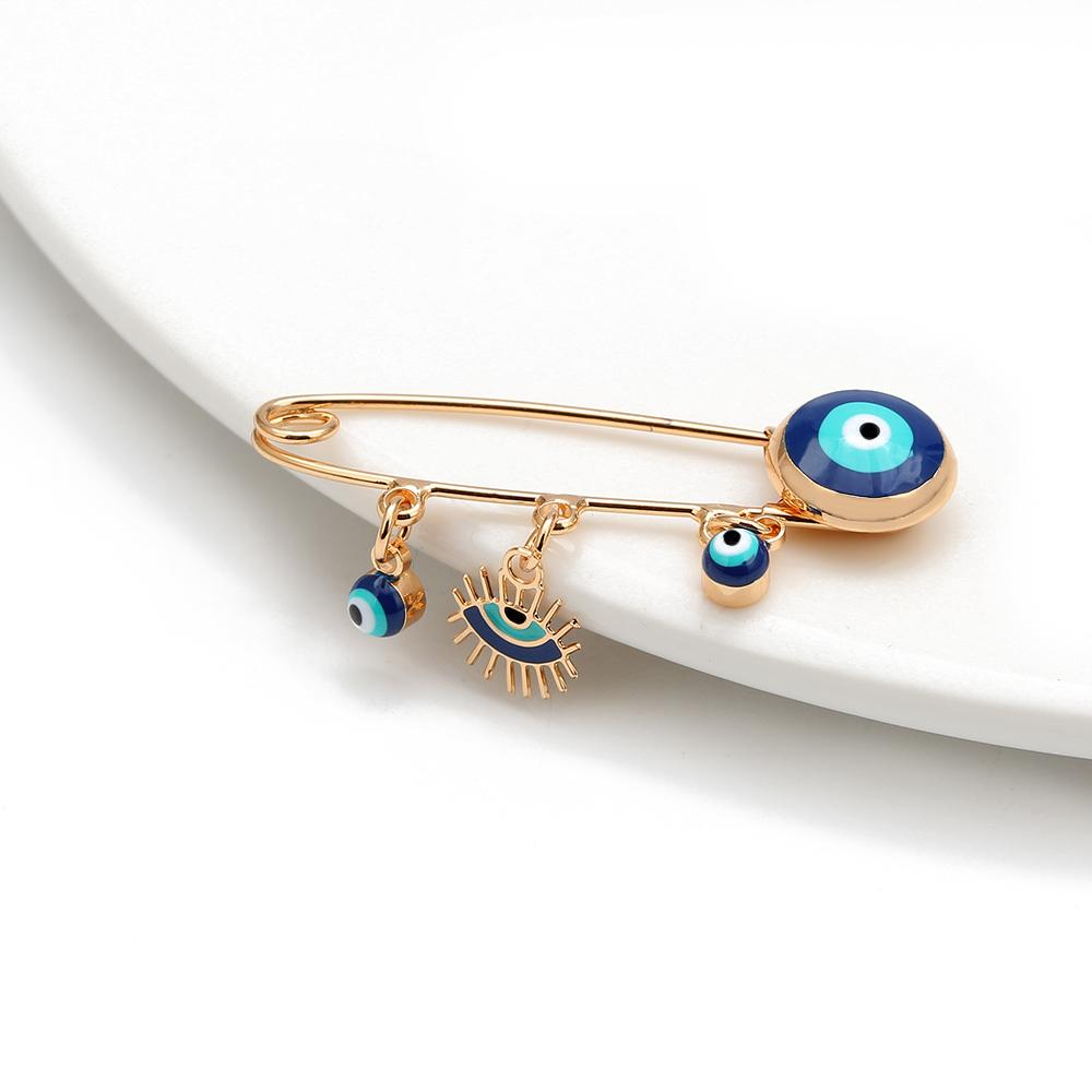 Lucky Blue Turkish Evil Eye Brooch Pin for Women Men Dropping Oil Flower Crown Star Hamsa Hand Charm Fashion Jewelry BD52