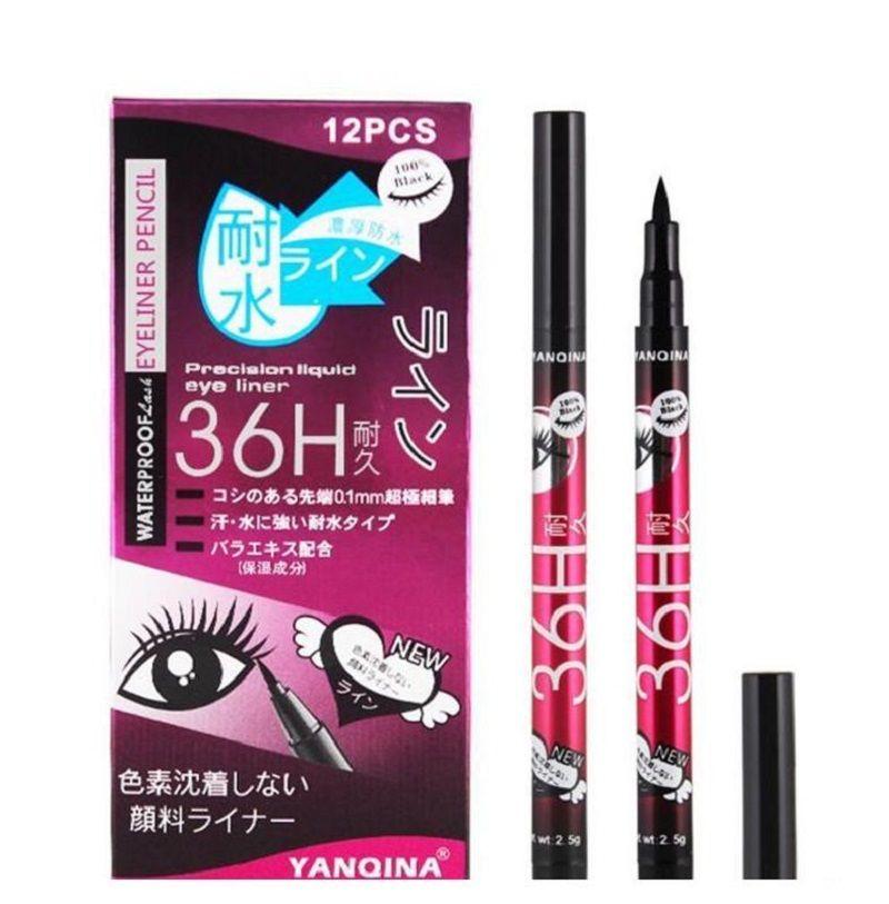 YANQINA 36h 방수 아이 라이너 yanqina 메이크업 연필 블랙 브라운 블루 퍼플 4 색 펜 리퀴드 아이 라이너 화장품 롱 라스팅 12pcs 세트