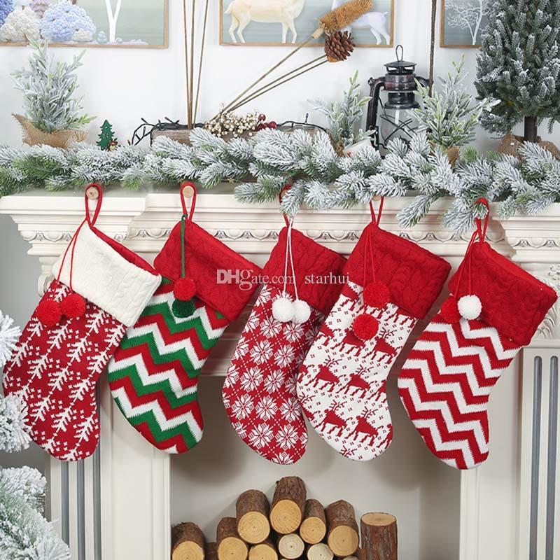 니트 크리스마스 스타킹 장식 크리스마스 트리 장식 파티 장식 순록 눈송이 스트라이프 캔디 양말 가방 크리스마스 선물 가방 WX9-1551