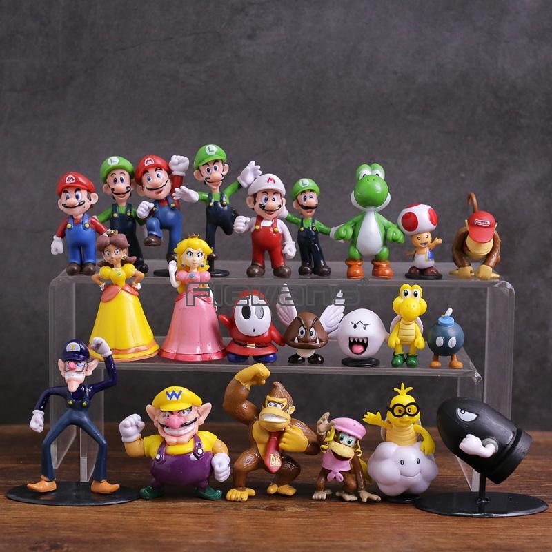 슈퍼 마리오 브라더스 가족 미니 PVC 피규어 장난감 22 개 / 대 마리오 루이지 와리 오 Waluigi 두꺼비 Bowser 요시 복숭아 데이지 Goomba Koopa SH190910